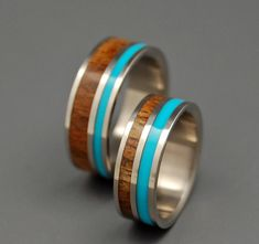 For our 10th anniversary.   Wooded Cove Set  Wooden Wedding Rings by MinterandRichterDes, $520.00