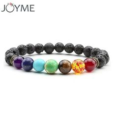 FREE SHIPPING, Joyme New 7 Chakra Bracelet Men Black Lava Healing Balance Beads Reiki Buddha Prayer Natural Stone Yoga Bracelet For Women