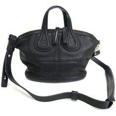 Pre-owned Givenchy Micro  Nightingale Black Lambskin Tote Bag ($860) ❤ liked on Polyvore featuring bags, handbags, tote bags, zip tote bag, givenchy tote, black purse, zip tote and black handbags