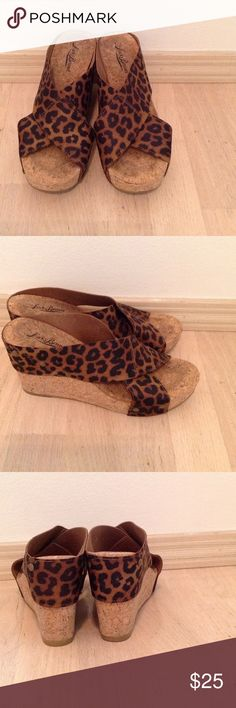 Leopard Lucky Brand Miller wedges Super cute, comfy, and in great condition! Lucky Brand Shoes Sandals