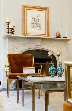 Nate Berkus Design - living rooms - Benjamin Moore - Pale Smoke - navy blue, velvet, sofa, gray, pillows, French chairs, yellow, stools, burnt orange, pumpkin, velvet, Greek key, chairs, blue, gray, walls, white, silk, drapes, gary, rug, crystal chandelier,
