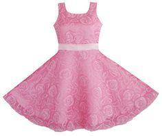 $22.99 (Buy here: https://alitems.com/g/1e8d114494ebda23ff8b16525dc3e8/?i=5&ulp=https%3A%2F%2Fwww.aliexpress.com%2Fitem%2FGirls-Dress-Pink-Rose-Wedding-Pageant-Kids-Boutique-4-12%2F32435052677.html ) Sunny Fashion Flower Girl Dress Pink Rose Wedding Pageant Kids Boutique 2016 Summer Princess Party Dresses Clothes Size 4-12 for just $22.99