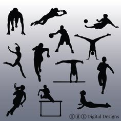 12 Athlete Silhouette Images Digital Clipart by OMGDIGITALDESIGNS