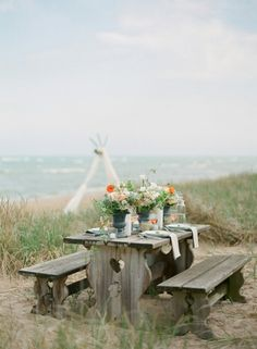 Rustic and beautiful beach picnic. Corporation Beach in Dennis  has tables with a lovely high overlook of Cape Cod Bay