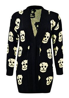 b83ba39f47 SA Fashions Ladies Skull Print Halloween Plus Size Long Sleeve Knitted  Cardigans Loose Open Front Jumper