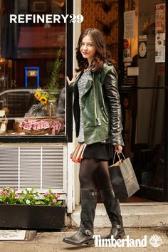 East Village Shopping in Timberland Black Bethel Buckle Tall Boot (Photo credit: Marc Iantosca; @Refinery29)