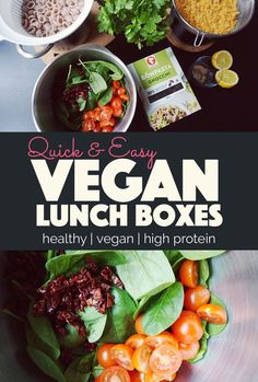 There's no excuse not to bring your own lunch when there's healthy and protein packed easy vegan lunch boxes like this t Easy Vegan Lunch, Quick Easy Vegan, Vegan Lunches, Vegan Foods, Vegan Dishes, Vegan Meal Plans, Vegan Meal Prep, Vegetarian Recipes, Healthy Recipes