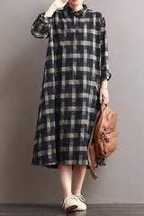 Linen plaid casual loose shirt dress winter long shirt for women timeless black and white outfits Linen Dresses, Women's Dresses, Casual Dresses, Hijab Fashion, Fashion Dresses, Herren Outfit, Loose Shirts, Mode Hijab, Casual Winter Outfits