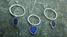 Blue Sea Glass and Silver Jewellery set by KaysCornishCreations