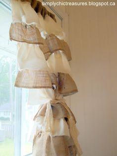 Ruffled Burlap Curtains way cute! love the ruffles burlap curtains Burlap Projects, Burlap Crafts, Diy Projects, Sewing Projects, Diy Crafts, Sewing Ideas, Muslin Curtains, Diy Curtains, Homemade Curtains
