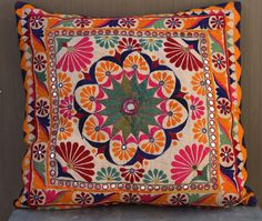 Large vintage hand embroidered Indian Banjara by Faerymother Border Embroidery Designs, Hand Embroidery Patterns, Crochet Placemat Patterns, Kutch Work Designs, Cushion Embroidery, Hanging Paintings, Beautiful Rangoli Designs, Quirky Home Decor, Floor Cushions