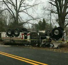 Dunkirk MD. Tanker over turned responding to working Fire. Tire failure was cause of crash.