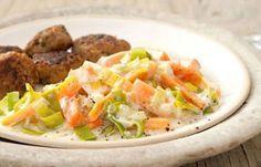 Frikadellen mit Möhren-Lauch-Gemüse - Eiweißreiche Rezepte für Abnehmen mit Genuss
