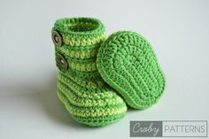 GREEN ZEBRA – Crochet Baby Booties FREE | Croby Patterns