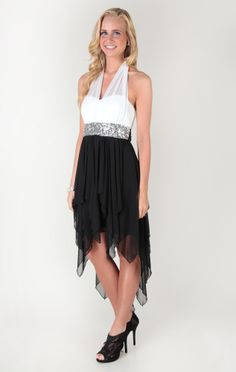 illusion halter dress with sequins and high low hanky hem