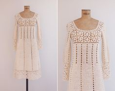 Rosemary Dress  Vintage 1970s Crochet Dress  by GoldenCraneVintage Women's hippie boho fashion outfit