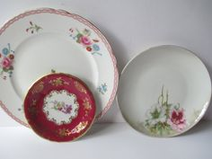 Vintage Pink Floral Plate Trio by jenscloset on Etsy