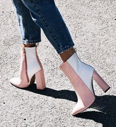 Pale pink and white color block ankle boots, blush pink and white ankle boots on a block heel