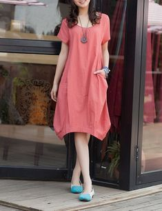 Orange red linen dress maxi dress short by originalstyleshop, $53.00