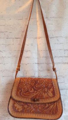 Vintage Hand Tooled Leather Purse Caramel Brown Bag Flower Floral Boho Hippie #Unbranded #Vintage