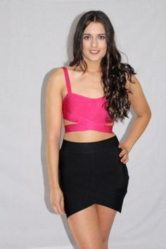PINK DELIGHT CROP TOP & MIDNIGHT MISSION BLACK SKIRT Available at www.emilylaine.com.au