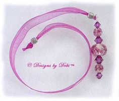 Designs by Debi Handmade Jewelry Fuchsia Daisy Bubbles and Crystal Ribbon Slide Bookmark