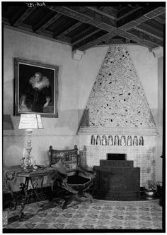 HOODED FIREPLACE IN SPANISH ROOM