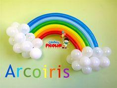 Como hacer un arcoiris con globos  para decoraciones My little pony # 21