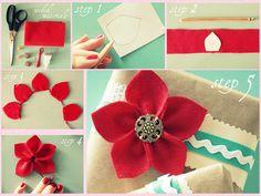 Faça Você Mesmo - Flor de feltro - Felt Flower tutorial