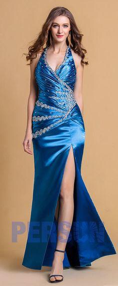 f2cb0a8dc7835 Robe de bal bleue royale à A-ligne ornée de strass décolletée en V avec  bretelle au cou