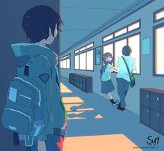 Sad Anime, Anime Love, Anime Guys, Cute Couple Wallpaper, Anime Scenery Wallpaper, Cute Cartoon Wallpapers, Animes Wallpapers, Dessin Old School, Sun Projects