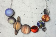 Solar System Necklace, Planets Necklace, Science Jewellery, Space Necklace, Space Jewellery, Planet Jewellery, Geeky Necklace Shrink Plastic by WordosaurusText on Etsy https://www.etsy.com/listing/200668412/solar-system-necklace-planets-necklace