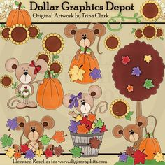 Autumn Mice 1 - Clip Art - $1.00 : Dollar Graphics Depot, Quality Graphics ~ Discount Prices