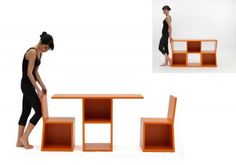 """Trick"" is a bookcase which transforms into a console table with two chairs. Bibliothèque Trick par Sakura Adachi. ""Trick"" is a multifunction library which consists of two chairs and a side table. A multifunctional solution suitable for small spaces designed by Japanese designer Sakura Adachi."