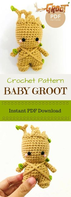 Marvel's Baby Groot from Guardians of the Galaxy 2 amigurumi crochet pattern. Wow! this is so perfect toy! What a great looking doll! #etsy #ad #amigurumitoy  #download #amigurumipattern  #handmade #marvel #guardiansofthegalaxy #groot #crochetpattern