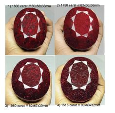 6825 Ct/04 Pcs Natural Ruby Huge Museum Size Oval Faceted Cut Loose Gemstone Lot #gemsindia