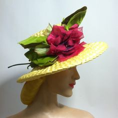 Summery Bright Pink Rose Topped Straw Hat circa 1960s - Dorothea's Closet Vintage