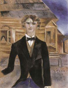 Chagall:Autoportrait devant la maison,1914.
