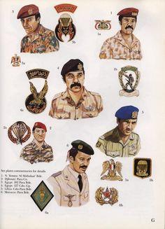 World Special Forces Insignia:  1: N. Yemen: 'Al Mithalat' Bde.;  2: Djibouti: Para Co.;  3: Egypt: 182 Para Bde.;  4: Egypt: 127 Cdo. Gp.;  5: Libya: Cdo-Para Bde.;  6: Morocco: Para Bde. Military Gear, Military Uniforms, October War, Army Drawing, Army Uniform, Paratrooper, Army & Navy, Modern Warfare, War Machine