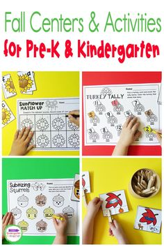 Fall themes are so much fun! These Fall Themed Math and Literacy Activities and Centers for Pre-K and Kindergarten are a super fun way to work on letters and sounds, sight words, rhyming, numbers, counting, addition, subtraction, and tons more! Kindergarten Math Activities, Literacy Skills, Activity Centers, Literacy Centers, Fall Themes, Subitizing, Autumn Theme, Student Learning, Childcare