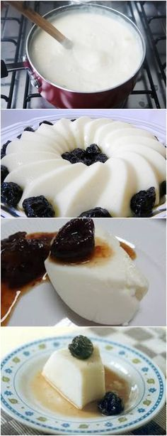 SOBREMESA FEITA COM MUITO CARINHO VOVÓ VEJA AQUI>>Coloque todos os ingredientes do manjar (menos os da calda) em uma panela e mexa bem até dissolver todo o amido. Leve a panela ao fogo, mexendo sempre, até engrossar. Quando começar a ferver, cozinhe por uns 5 minutos. #receita#bolo#torta#doce#sobremesa#aniversario#pudim#mousse#pave#Cheesecake#chocolate#confeitaria