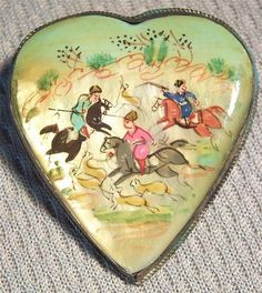 Antique Heart Miniature Hand Painted Hunting Scene Pin Brooch Mother of Pearl