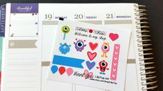 Lil Page, Monster, ADD ON, Fits Erin Condren, Plum Planner, Lilly P. and others, Planner Stickers, Kiss Cut, Life Planner Stickers by LillyTop on Etsy