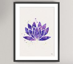 Imprimir Arte acuarela YOGA loto n º 3 loto flor por oinkartprints