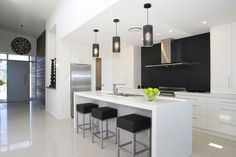 GJ Gardner Homes showhomes available to view now. See the great range of house designs we have available. Kitchen Flooring, Kitchen Dining, Havelock North, Striped Wallpaper, Building A House, New Homes, House Design, Interior Design, Furniture
