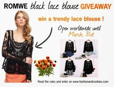 Fashion and Cookies - fashion blog: Romwe black lace blouse Giveaway
