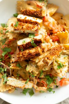 Vegan Creamy Cajun Pasta with Crisp Breaded tofu. Nut-free Creamy Cajun Spice Sauce with Farfalle. 23 Gm of Protein. Creamy Cajun Pasta, Cajun Chicken Pasta, Pasta Recipes, Vegan Recipes, Donut Recipes, Asparagus Pasta, Vegan Pasta, Vegan Food, Vegans