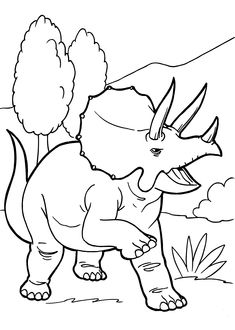 Angry Triceratops Dinosaur Coloring Pages For Kids Printable Free