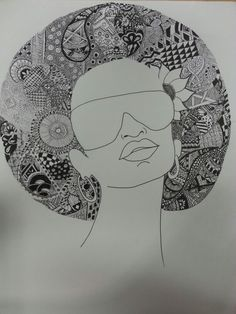 Zentangle hair afro drawing ink patterns www.andreaagosto.com