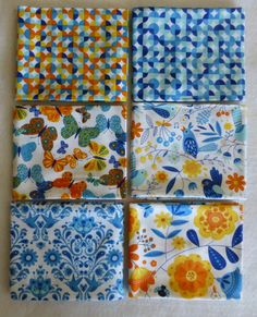 Cotton Fabric, Quilt Fabric, Home Decor, Fat Quarter Bundle of 6, On the Wing by Moda, Fast Shipping FQ179